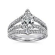 14k White Gold Marquise  Split Shank Engagement Ring angle 5