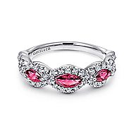 14k White Gold Marquise Ruby & Pave Diamond Fashion Ring