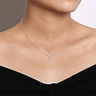 14k White Gold Messier Square Fashion Necklace