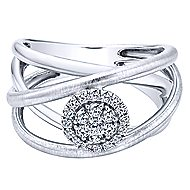14k White Gold Messier Twisted Ladies Ring