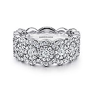 14k White Gold Messier Wide Band Ladies' Ring angle 1