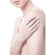 14k White Gold Midi Ladies' Ring angle 5