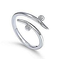 14k White Gold Midi Ladies' Ring angle 3