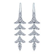14k White Gold Nature Drop Earrings angle 1