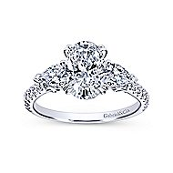 14k White Gold Oval 3 Stones Engagement Ring angle 5