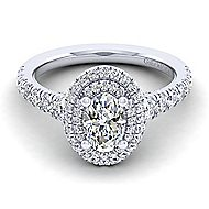 14k White Gold Oval Double Halo Engagement Ring angle 1