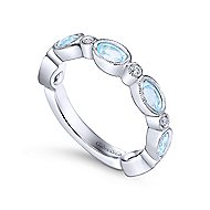 14k White Gold Oval Sky Blue Topaz & Diamond Stackable Ring