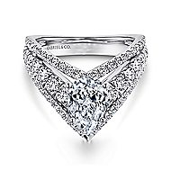 14k White Gold Pear Shape Curved Engagement Ring angle 1