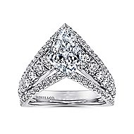14k White Gold Pear Shape Curved Engagement Ring angle 5