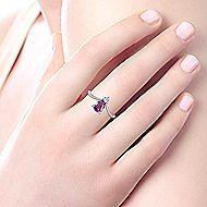 14k White Gold Pear Shaped Amethyst & Diamond Ladies' Fashion Ring