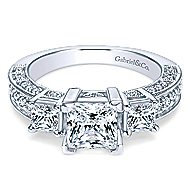 14k White Gold Princess Cut 3 Stones Engagement Ring