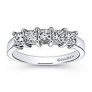 14k White Gold Princess Cut 5 Stone Diamond Anniversary Band angle 5