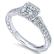 14k White Gold Princess Cut Halo Engagement Ring angle 3