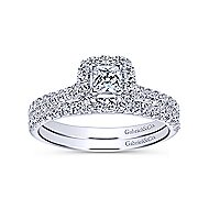 14k White Gold Princess Cut Halo Engagement Ring