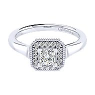 14k White Gold Princess Cut Perfect Match Engagement Ring angle 1