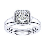 14k White Gold Princess Cut Perfect Match Engagement Ring angle 4