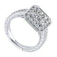 14k White Gold Princess Cut Perfect Match Engagement Ring angle 3