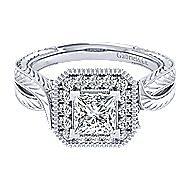 14k White Gold Princess Cut Perfect Match Engagement Ring angle 1