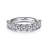 14k White Gold Radiant Cut 9 Stone Diamond Anniversary Band angle 1