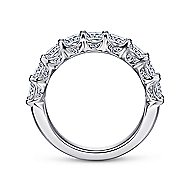 14k White Gold Radiant Cut 9 Stone Diamond Anniversary Band angle 2