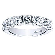 14k White Gold Radiant Cut 9 Stone Diamond Anniversary Band angle 5