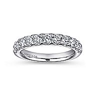 14k White Gold Round 11 Stone Diamond Anniversary Band angle 4