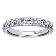 14k White Gold Round 14 Stone Diamond Anniversary Band angle 5
