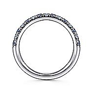 14k White Gold Round 15 Stone Diamond and Sapphire Anniversary Band angle 2