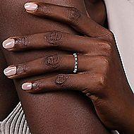 14k White Gold Round 15 Stone Diamond and Sapphire Anniversary Band angle 5