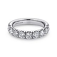 14k White Gold Round 9 Stone Diamond Anniversary Band angle 1