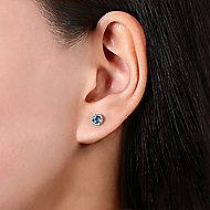 14k White Gold Round Cut Diamond Halo & Swiss Blue Topaz Stud Earrings