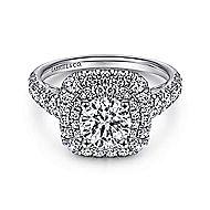 14k White Gold Round Double Halo Engagement Ring angle 1