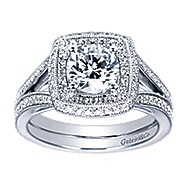 14k White Gold Round Double Halo Engagement Ring angle 5