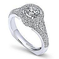 14k White Gold Round Double Halo Engagement Ring angle 3