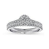14k White Gold Round Halo Engagement Ring angle 4