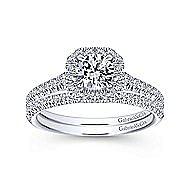 14k White Gold Round Octagonal Halo Engagement Ring