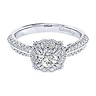 14k White Gold Round Perfect Match Engagement Ring angle 1