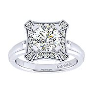 14k White Gold Round Perfect Match Engagement Ring angle 5