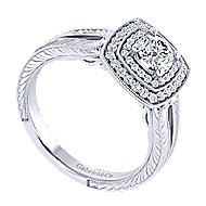 14k White Gold Round Perfect Match Engagement Ring angle 3