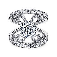 14k White Gold Round Split Shank Engagement Ring angle 1