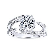14k White Gold Round Split Shank Engagement Ring angle 5