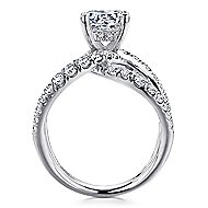 14k White Gold Round Split Shank Engagement Ring angle 2