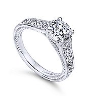 14k White Gold Round Straight Engagement Ring angle 3