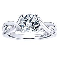 14k White Gold Round Twisted Engagement Ring angle 5