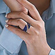 14k White Gold Sapphire & Diamond Open Wide Band Fashion Ring