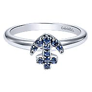 14k White Gold Sapphire Anchor Fashion Ring