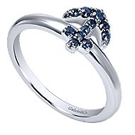 14k White Gold Sapphire Anchor Fashion Ring