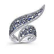 14k White Gold Scattered Sapphire & Pave Diamond Ladies Wrap Ring