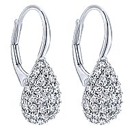 14k White Gold Silk Drop Earrings angle 2
