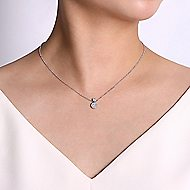 14k White Gold Silk Fashion Necklace angle 3